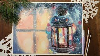 Акварель. Рисуем новогодний фонарь... Watercolor christmas card
