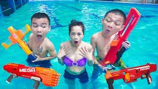 NTK Nerf Movies: SEAL NERF X Warriors Nerf Guns Criminal Rescue Lady at Pool