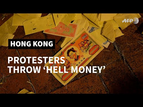 HK Democracy Protesters Throw 'hell Money' On China's National Day | AFP