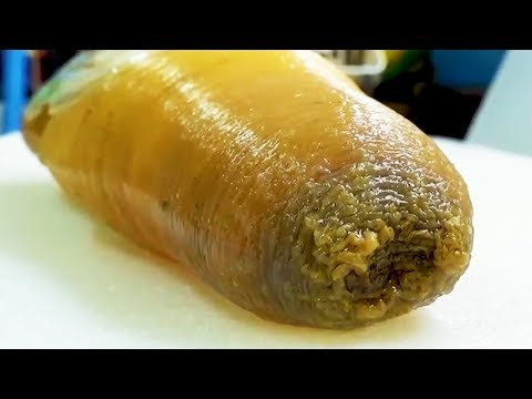 FLABBY SEA MONSTER! Geoduck Sashimi - Japanese Street Food in Okinawa