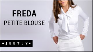 Petite pussybow blouse - Freda white blouse by Jeetly