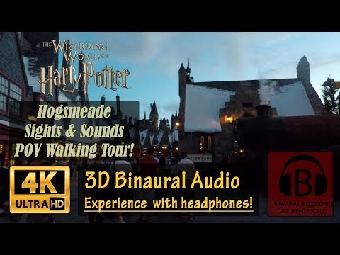 [4K, 3D Audio] Hogsmeade Binaural 3D Audio 4K Sights and Sounds