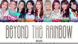 Gambar cover NiziU – 'BEYOND THE RAINBOW' (虹の向こうへ)  Lyrics [Color Coded_Kan_Rom_Eng]