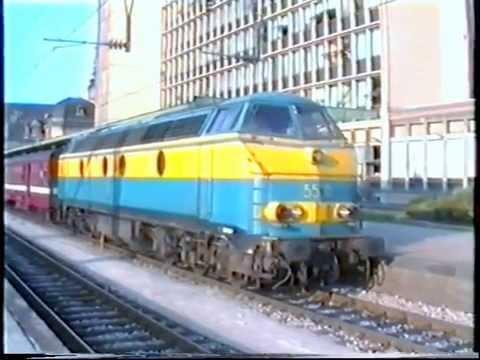 Gare de Luxembourg / Trier Hbf en 1995 : 1800 , 3600 CFL , HLE 20 & HLE 55 SNCB ,BB 15000 SNCF