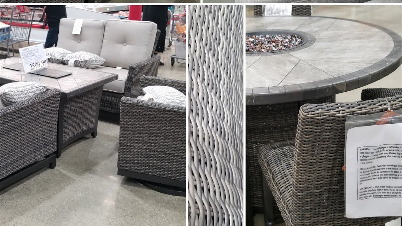 costco outdoor furniture fire tables dining and lounge sets