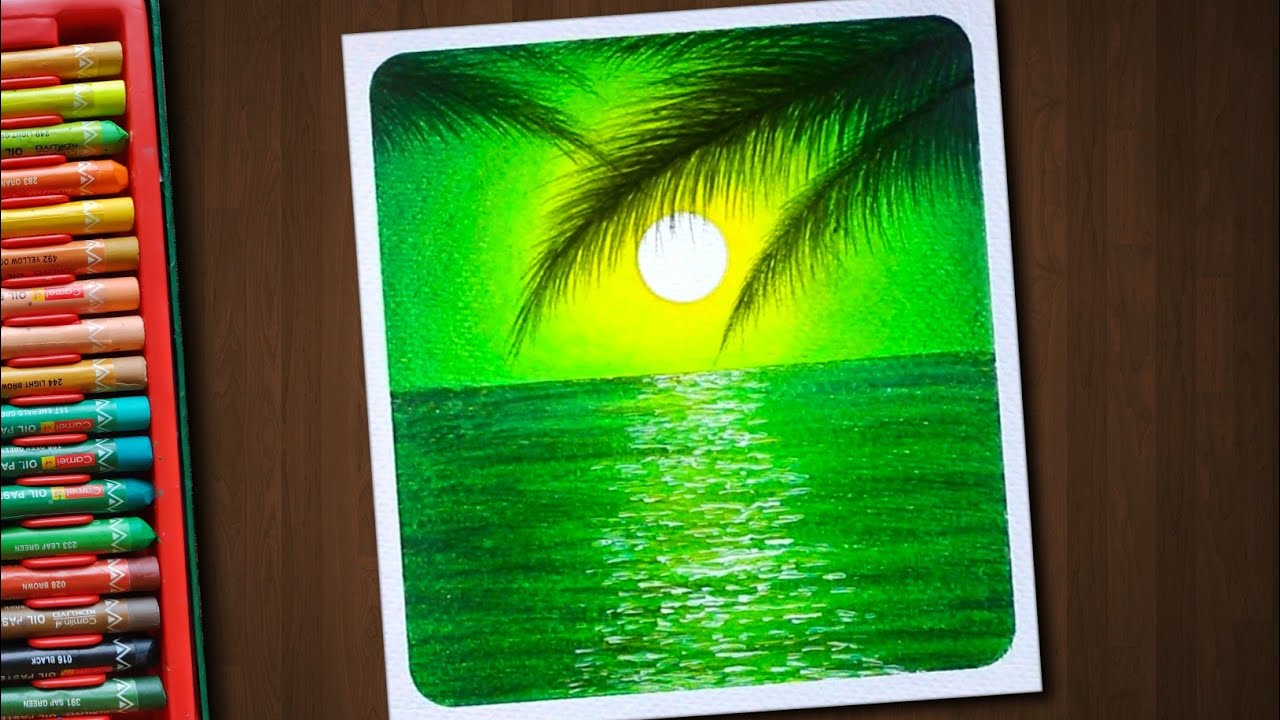 Beautiful Green Seascape / Drawing with Oil Pastels / Step by Step
