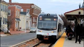 NJT River Line (LRT): Trenton LRT Train at Burlington Town Ctr, NJ [Stadler DMU]