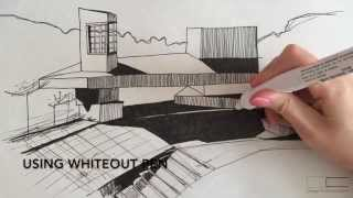 how to draw shadows in two point perspective tutorial with whiteout pen