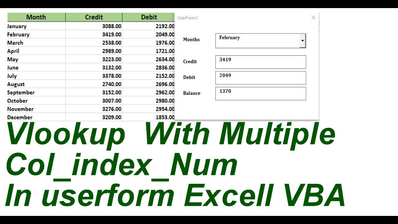 Vlookup Multiple Col Index Num Invba Userform Excel