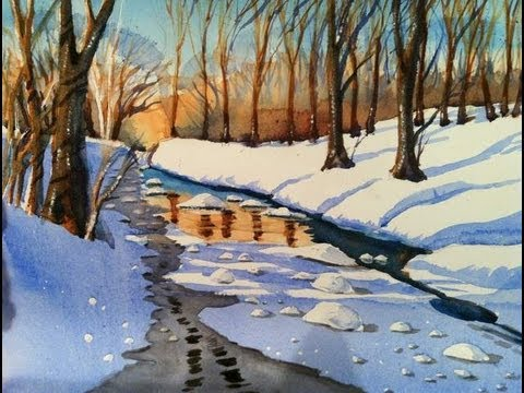 Watercolors Winter Snowscene Youtube