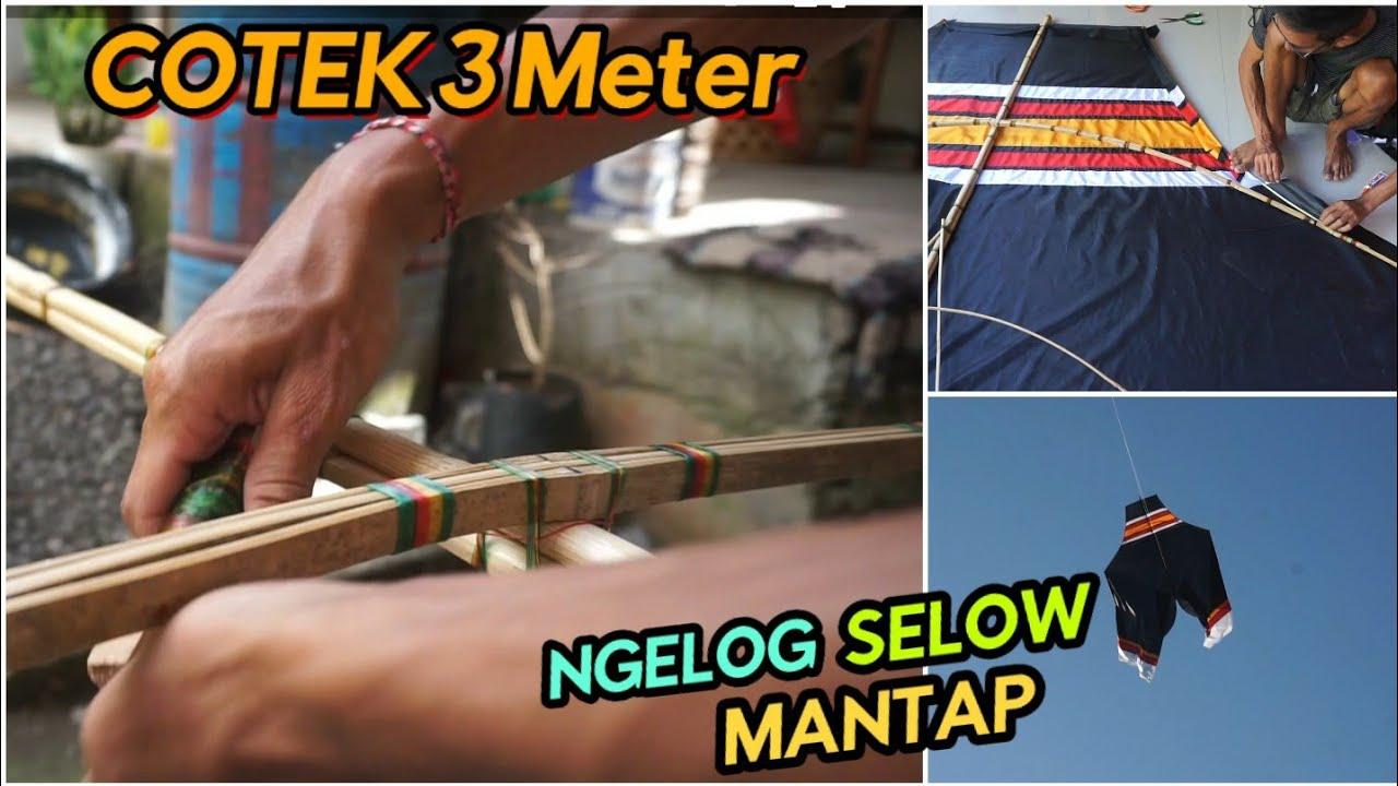 Bikin Layangan Cotek Lagi (3 Meter) NGELOG SELOW. Langsung Pernis Bantangnya..