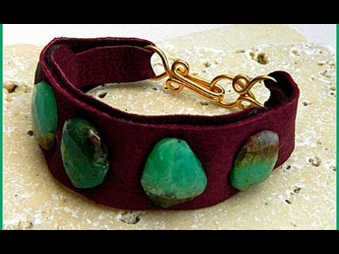Jewelry How To Leather Cuff Bracelet With Gemstones