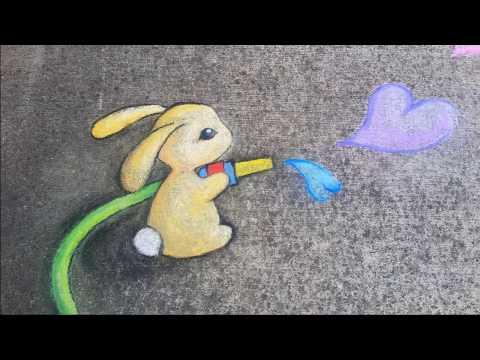 Street art, chalk dust, rainbow magic