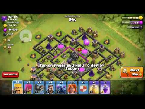 Clash Of Clan. Best Town Hall 8 Attack Strategy 2017