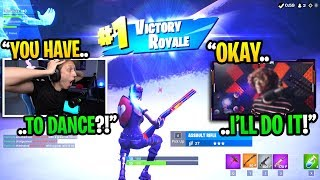 I made a streamer DANCE in real life for getting a HIGH KILL win in Fortnite... (super funny)
