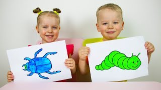Gaby and Alex Learns colors and names of fruits. Educational video compilation for Children