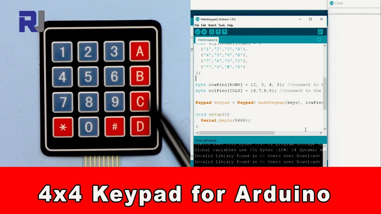 How to use Arduino 4x4 keypad download the code