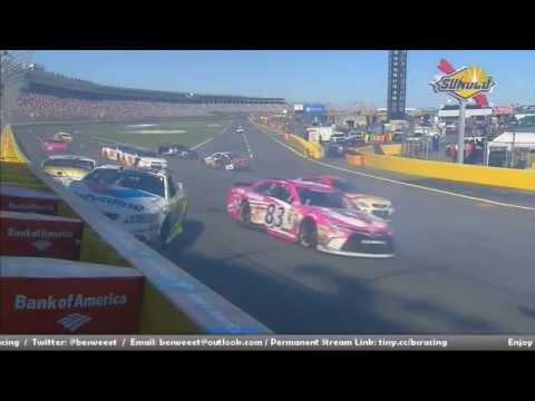 NASCAR Sprint Cup Series 2016. Charlotte Motor Speedway. Restart Big Crash