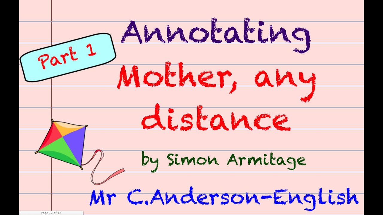 mother any distance Mother any distance is another book of matches poem, this time about the mother son relationship whereas the father son relationship is determined by a sense of.