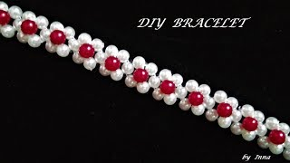 DIY 10 minutes beaded bracelet. Beginners beaded bracelet pattern.