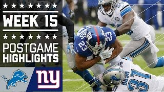 Lions vs. Giants | NFL Week 15 Game Highlights