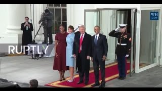 Repeat youtube video LIVE: Obama welcomes president-Elect Donald Trump and Mrs. Trump to White House