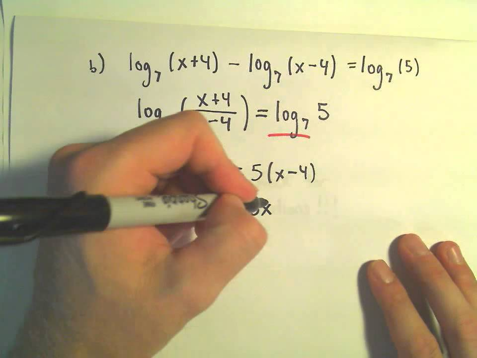 Solving Logarithmic Equations Example 2 Youtube