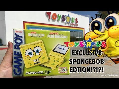 Toysrus Exclusive Spongebob Gameboy Advance SP Unboxing!!