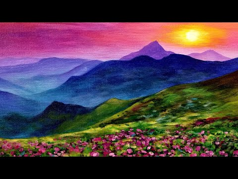 Sunset Landscape LIVE Acrylic Painting Tutorial