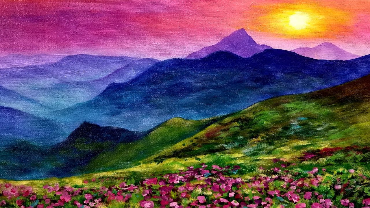 Sunset Landscape LIVE Acrylic Painting Tutorial - YouTube
