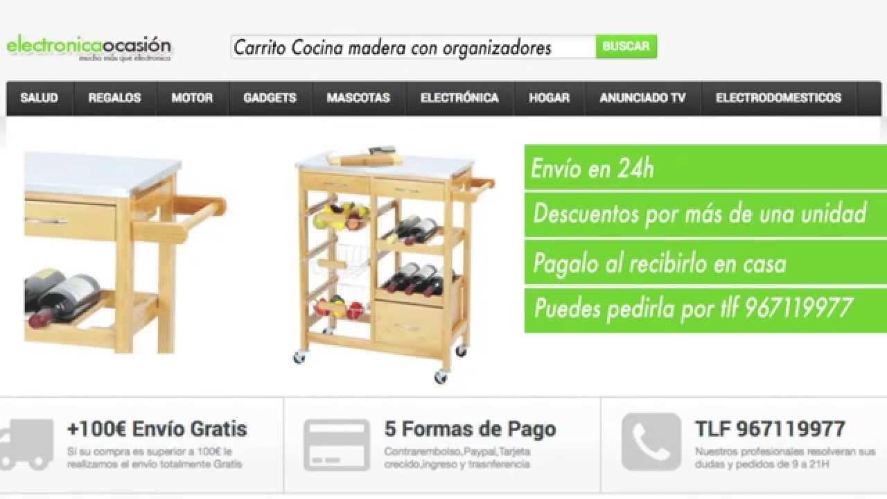 Carrito Cocina de madera con cajones organizador Fruta y Botellas ...