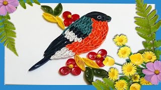 quilling artwork / A beautiful bird sitting on tree