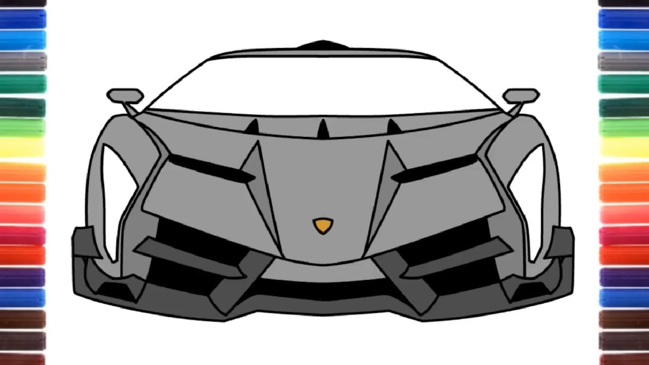 How To Draw Lamborghini Veneno Roadster Front View Super Cars
