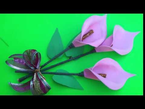 Como Hacer Flores De Alcatraz De Foamy Cala De Gomaeva Youtube