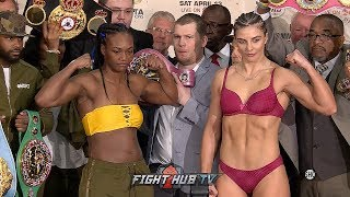 CLARESSA SHIELDS & CHRISTINA HAMMER FIRED UP AT WEIGH IN! COME FACE TO FACE 1 DAY BEFORE FIGHT!