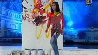 there is no wrong in thailand artist drawing picture with her bare body as paint brush wmv