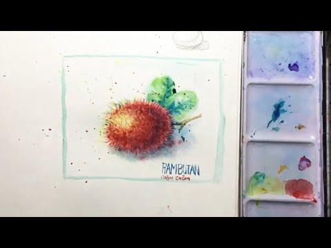How to draw and paint rambutan / watercolor/ vẽ trái chôm chôm màu nước, đơn giản