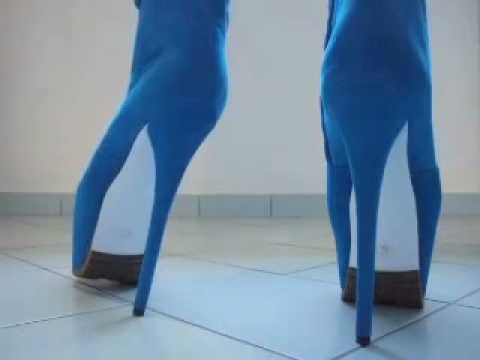 28550cad6aff42 blue high heel boots with plateau 7 inch - YouTube