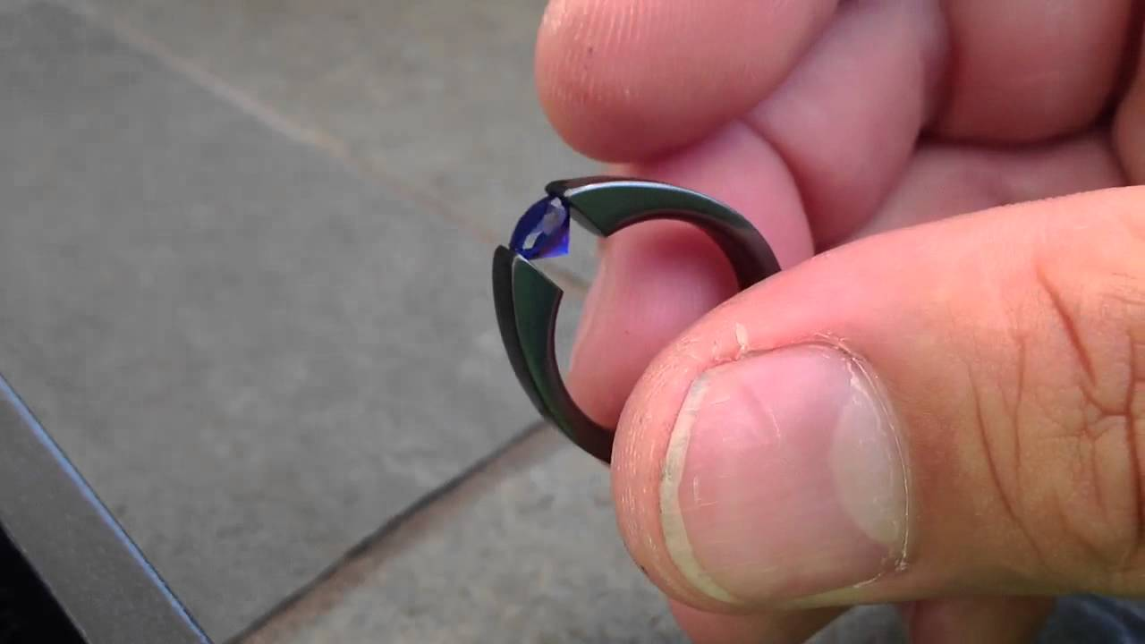 Flat Profile Black Zirconium Ring Diamond Ring - YouTube