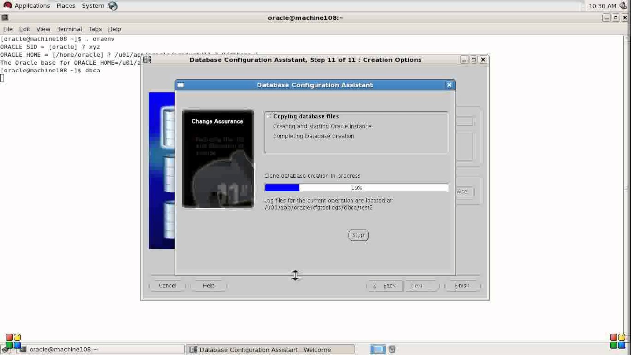 how to start dbca in oracle 11g linux