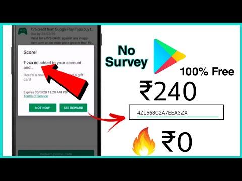 Get ₹240 Free Redeem Code For Google Play For Free No Survey No Human Verification??? 2020🔥🔥🔥
