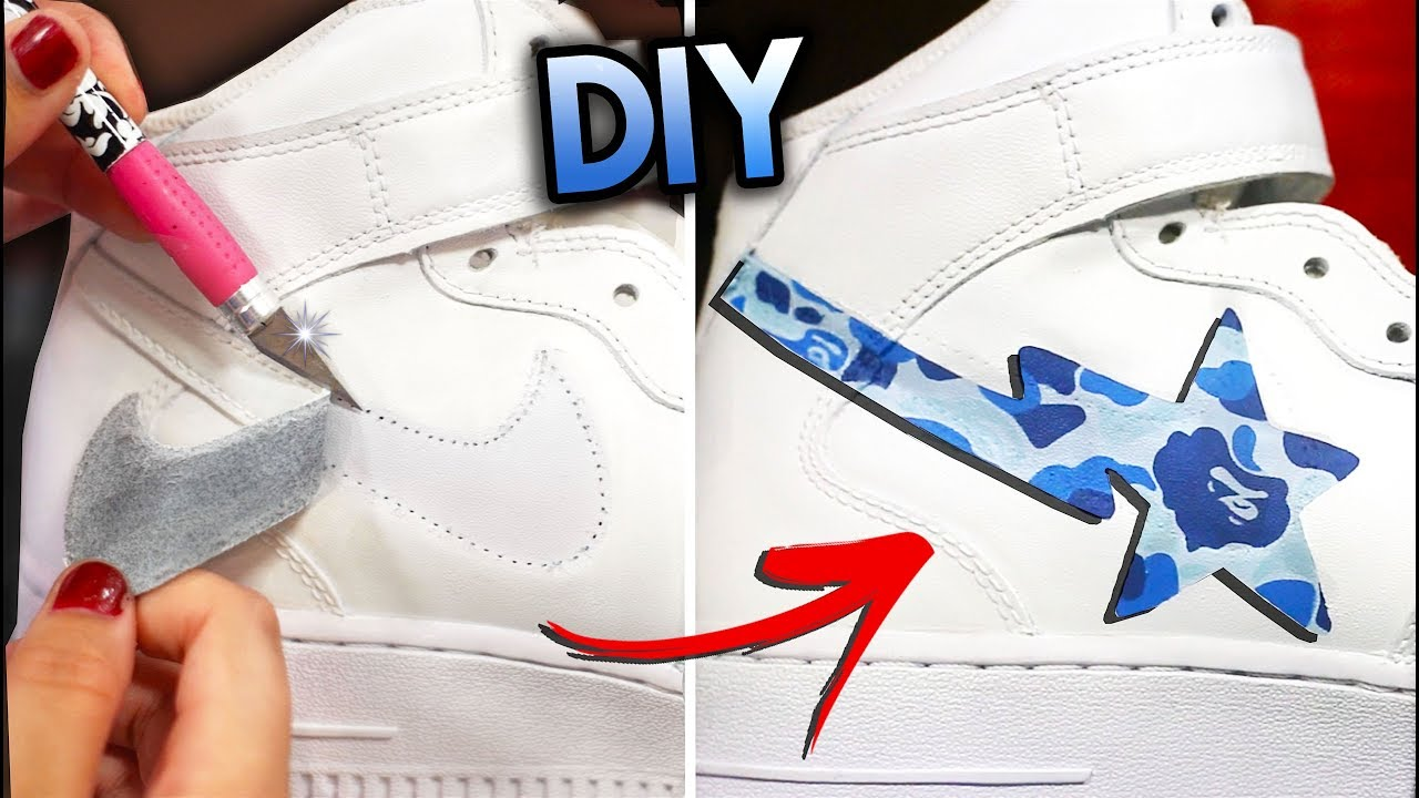 lowest price eea8b 3d745 HOW TO REMOVE THE NIKE SWOOSH  BAPESTA YOUR SHOES  AIR FORCE 1 CUSTOM