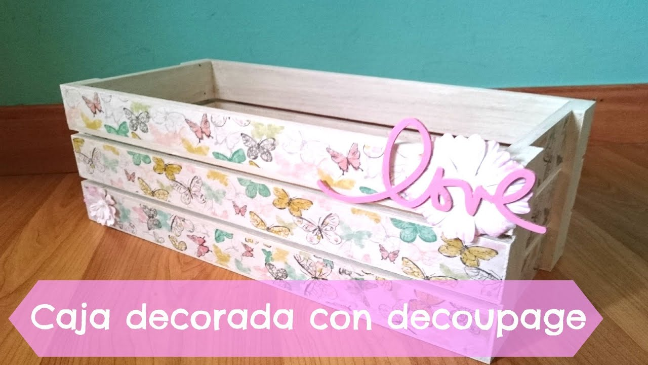 Caja de manzanas decorada con decoupage youtube for Papel de arroz para decorar muebles