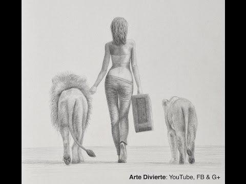 Cmo dibujar una mujer caminando con leones vista por atrs Mira