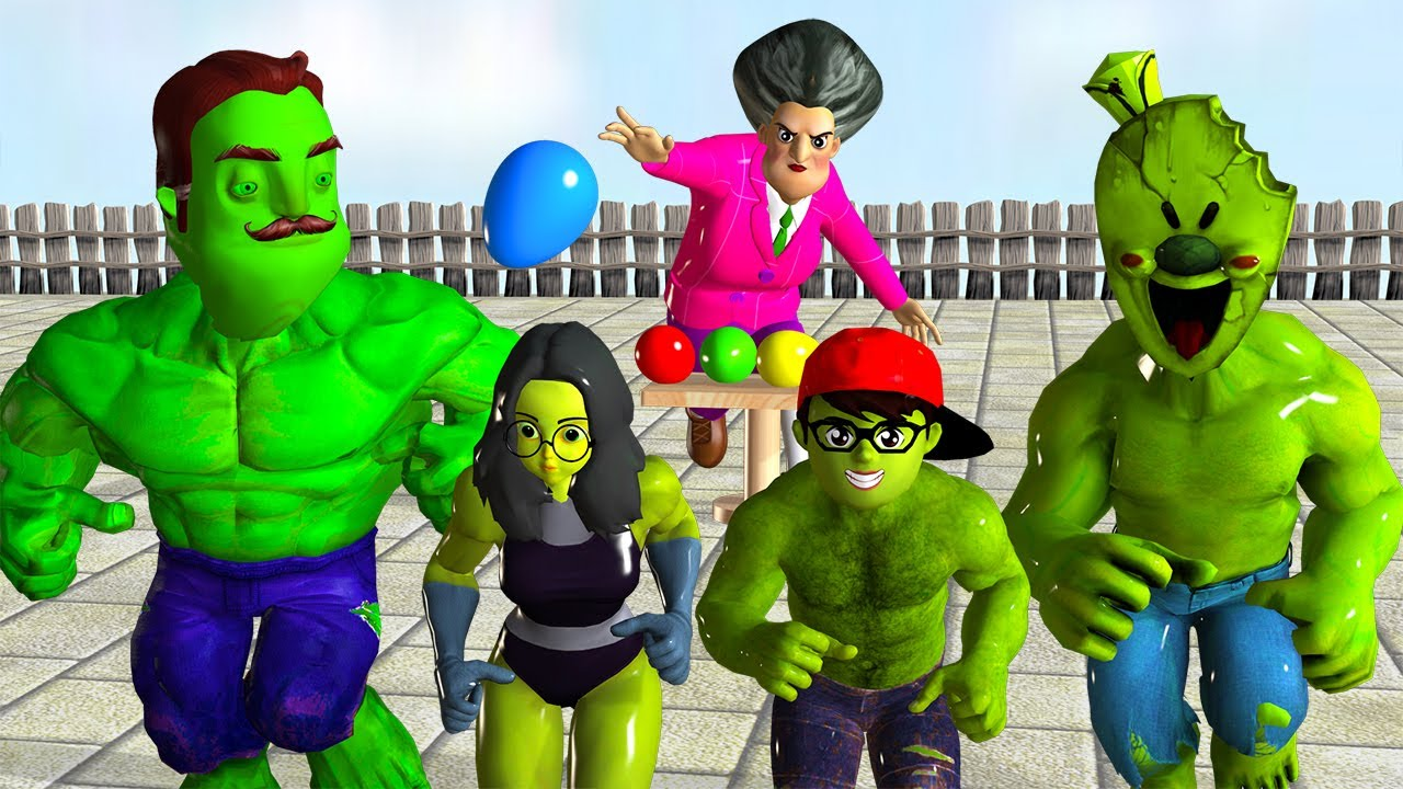 NickHulk Win,  She Hulk and Ice Scream 4 with Miss T Egg Games - Scary Teacher 3D Version Mods Hulk