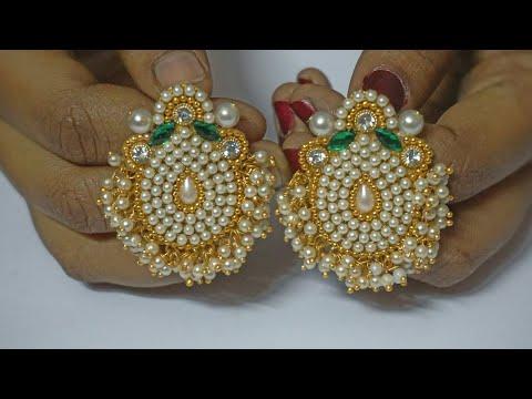 How To Make Pearls Designer Earrings | Paper Earrings | Jewellery Making|DIY+earring(earring)diaries
