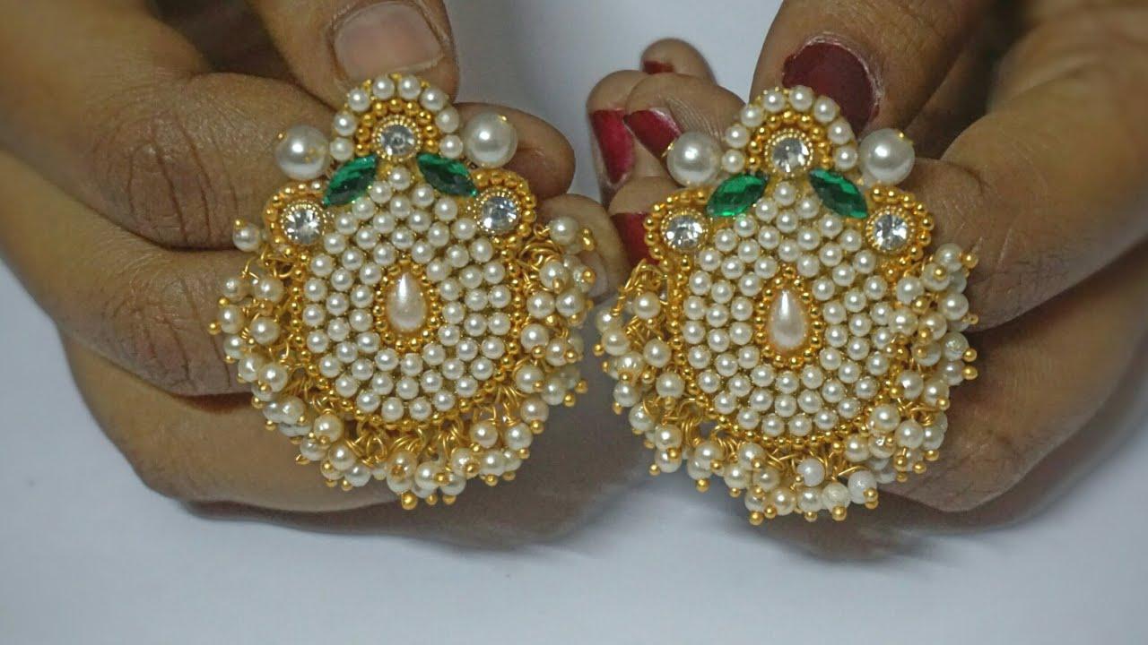 How To Make Pearls Designer Earrings | Paper Earrings ...