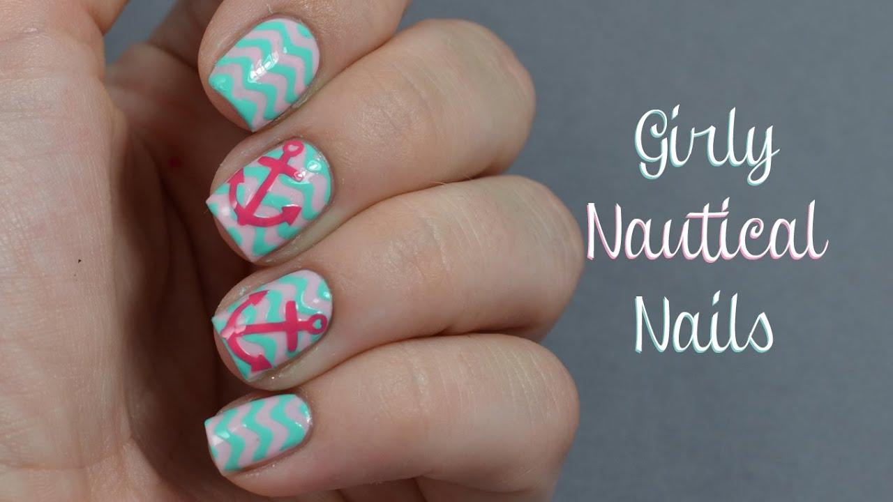 Girly nautical nail art tutorial youtube girly nautical nail art tutorial prinsesfo Choice Image
