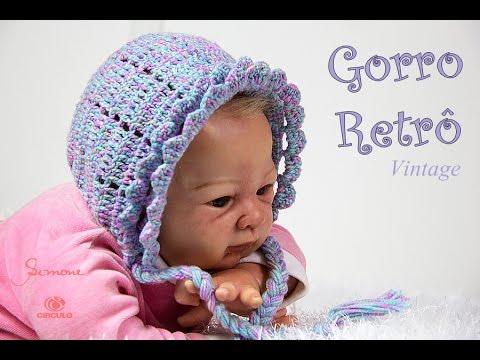 Gorro Retro vintage de Crochê para Bebê  73485e32430