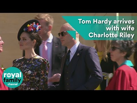 Royal Wedding: Baldheaded Tom Hardy arrives with wife Charlotte Riley